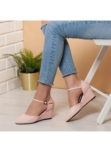 Dilimler Ayakkabı Dilimler Ayakkabı 6 Cm Topuk Ithal Suni Deri Malzeme Kadın Dolgu Topuk Ayakkabı Pudra